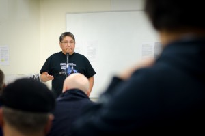 Chief Erwin Redsky speaks to the group on October 30. (photo credit: James Christian Imagery)