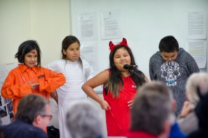 The Junior Chief and Junior Council members, dressed up for Halloween, spoke to the group in the community hall. They were shy but they welcomed the group and explained how they wish Freedom Road would get built.   (photo credit: James Christian Imagery)