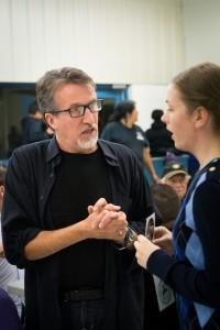 Steve Bell speaks with Samantha Klassen.  (photo credit: James Christian Imagery)