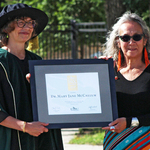 CMU President Dr. Cheryl Pauls (left) presents the 2021 CMU PAX Award to Dr. Mary Jane McCallum