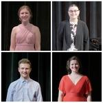 The 2021 Verna Mae Janzen Music Competition winners (clockwise from top-left): Johanna Klassen (voice), Georgeanne Van Helden (piano), Michelle Fast (voice), and Georg Neuhofer (piano)