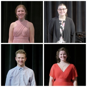 The 2021 Verna Mae Janzen Music Competition winners (clockwise from top-left): Johanna Klassen (voice), Georgeanne Van Helden (piano), Michelle Fast (voice), and Georg Neuhofer (piano)