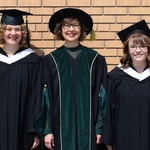 2019 President's Medal recipients Erin Froese (left) and Mackenzie Nicolle (right) with CMU President Dr. Cheryl Pauls