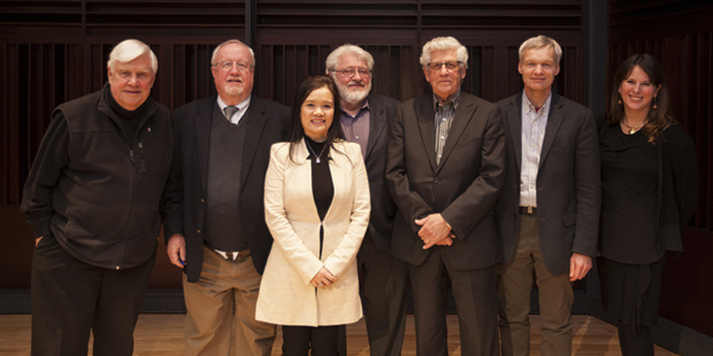 L-R: Tom Denton, Mike Molloy, Dr. Stephanie Stobbe, Peter Duschinsky, John Wieler, Brian Dyck, and Dr. Shauna Labman.