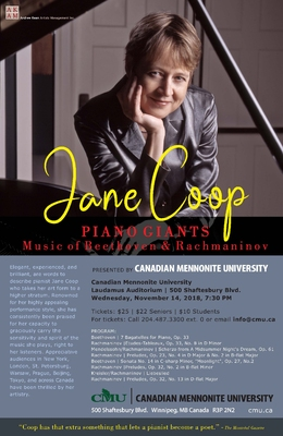Celebrated Canadian pianist to give concert at Canadian Mennonite University