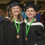 CMU's 2018 President's Medals were awarded on April 21 to Laura Carr-Pries (left) and April Klassen on the merits of scholarship, leadership, and service.