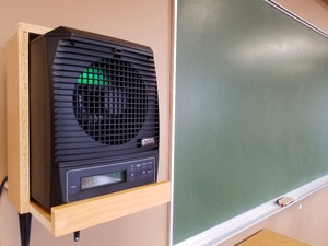 An additional layer of protection: one of many air purification units installed in CMU classrooms and throughout the university's on-campus residence buildings.