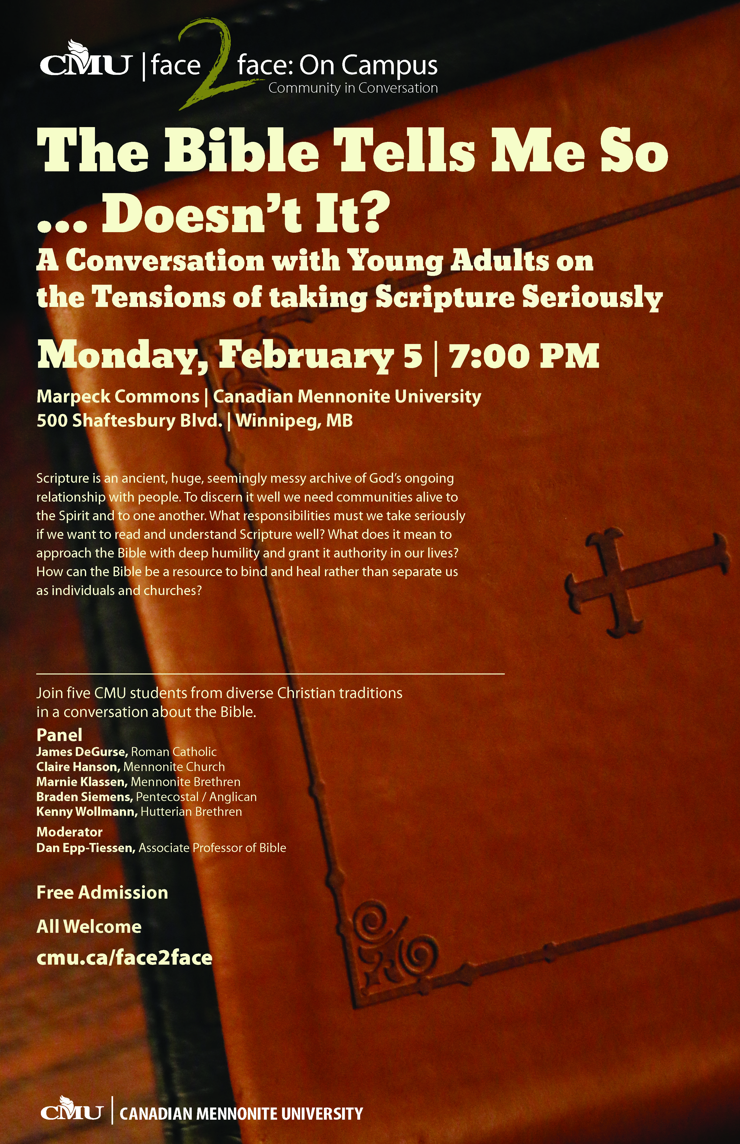 Ecumenical panel to discuss the Bible at upcoming CMU event