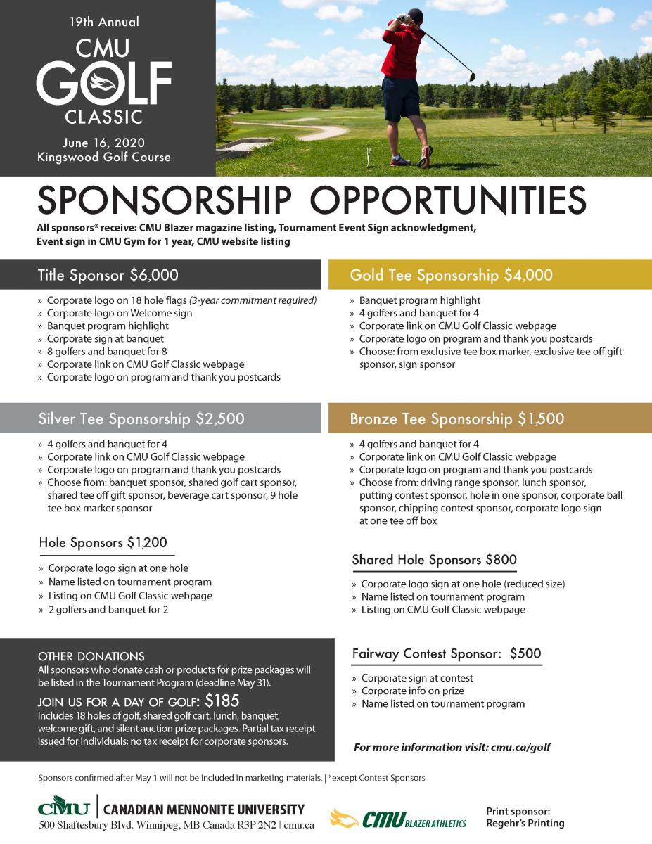 2019 CMU Golf Classic Sponsorship Opportunities
