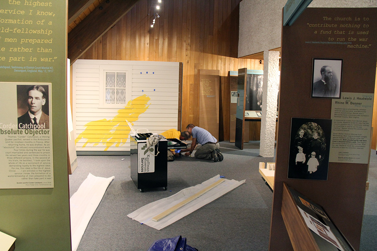 Setting up exhibition
